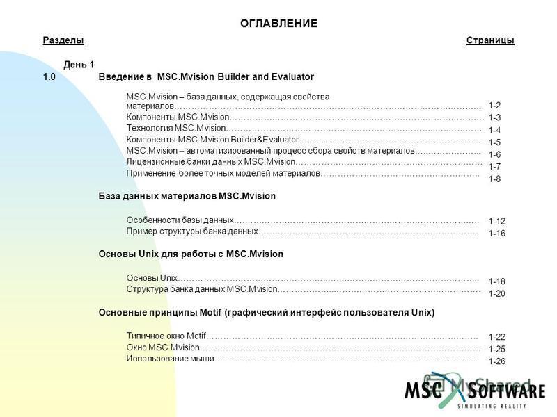 ОГЛАВЛЕНИЕ Разделы Страницы День 1 1.0Введение в MSC.Mvision Builder and Evaluator MSC.Mvision – база данных, содержащая свойства материалов……………………………………………………………………………………………… Компоненты MSC.Mvision……………………………………………………………………………… Технология MSC.Mvisi
