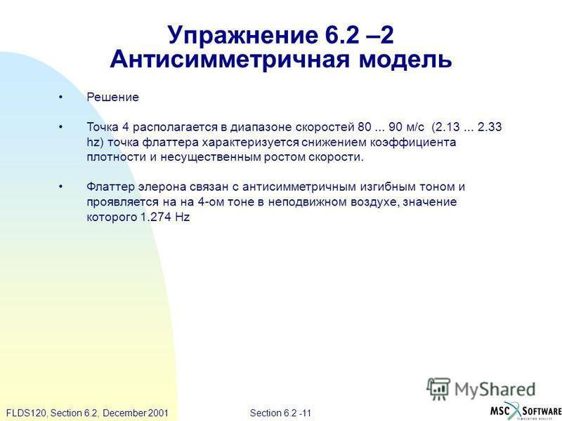 Section 6.2 -11FLDS120, Section 6.2, December 2001 Упражнение 6.2 –2 Антисимметриичная модель Решение Точка 4 располагается в диапазоне скоростей 80... 90 м/с (2.13... 2.33 hz) точка флаттера характеризуется снижением коэффициента плотности и несущес