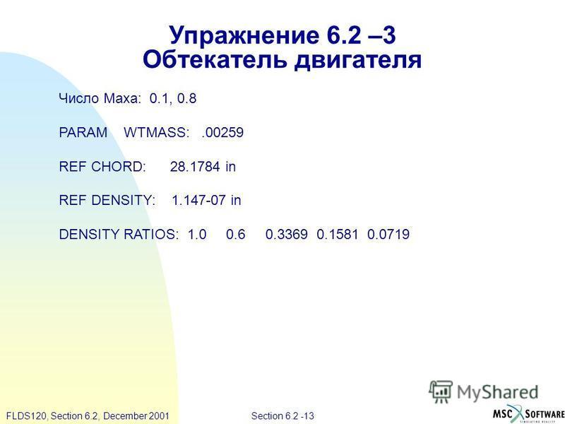 Section 6.2 -13FLDS120, Section 6.2, December 2001 Упражнение 6.2 –3 Обтекатель двигателя Число Маха: 0.1, 0.8 PARAM WTMASS:.00259 REF CHORD: 28.1784 in REF DENSITY: 1.147-07 in DENSITY RATIOS: 1.0 0.6 0.3369 0.1581 0.0719