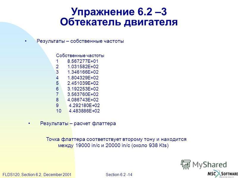 Section 6.2 -14FLDS120, Section 6.2, December 2001 Упражнение 6.2 –3 Обтекатель двигателя Собственные частоты 1 8.567277E+01 2 1.031582E+02 3 1.346166E+02 4 1.804329E+02 5 2.451039E+02 6 3.192253E+02 7 3.563760E+02 8 4.086743E+02 9 4.292180E+02 10 4.
