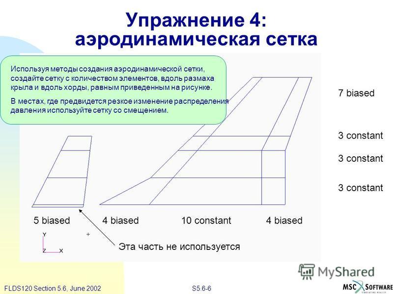 S5.6-6FLDS120 Section 5.6, June 2002 Упражнение 4: аэродинамическая сетка Используя методы создания аэродинамической сетки, создайте сетку с количеством элементов, вдоль размаха крыла и вдоль хорды, равным приведенным на рисунке. В местах, где предви