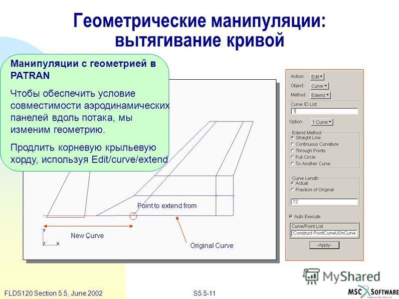 S5.5-11FLDS120 Section 5.5, June 2002 Геометрические манипуляции: вытягивание кривой Манипуляции с геометрией в PATRAN Чтобы обеспечить условие совместимости аэродинамических панелей вдоль потока, мы изменим геометрию. Продлить корневую крыльевую хор
