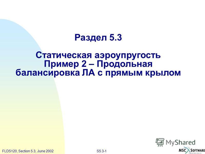 S5.3-1FLDS120, Section 5.3, June 2002 Раздел 5.3 Статическая аэроупругость Пример 2 – Продольная балансировка ЛА с прямым крылом