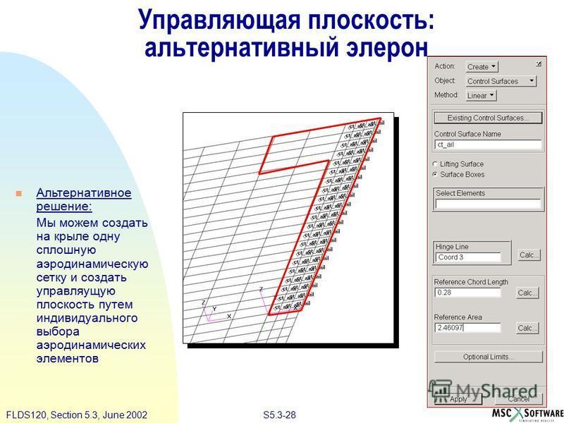 S5.3-28FLDS120, Section 5.3, June 2002 Альтернативное решение: Мы можем создать на крыле одну сплошную аэродинамическую сетку и создать управляющую плоскость путем индивидуального выбора аэродинамических элементов Управляющая плоскость: альтернативны