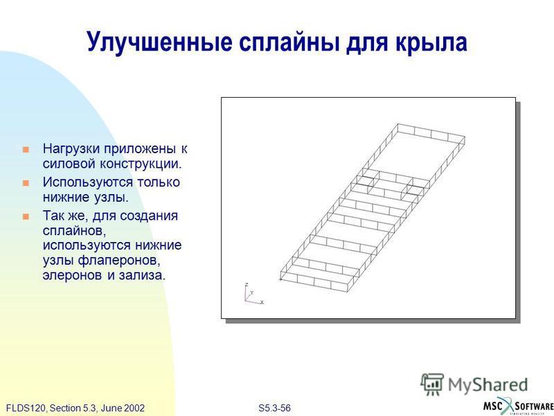 S5.3-56FLDS120, Section 5.3, June 2002 Улучшенные сплайны для крыла Нагрузки приложены к силовой конструкции. Используются только нижние узлы. Так же, для создания сплайнов, используются нижние узлы флаперонов, элеронов и зализа.
