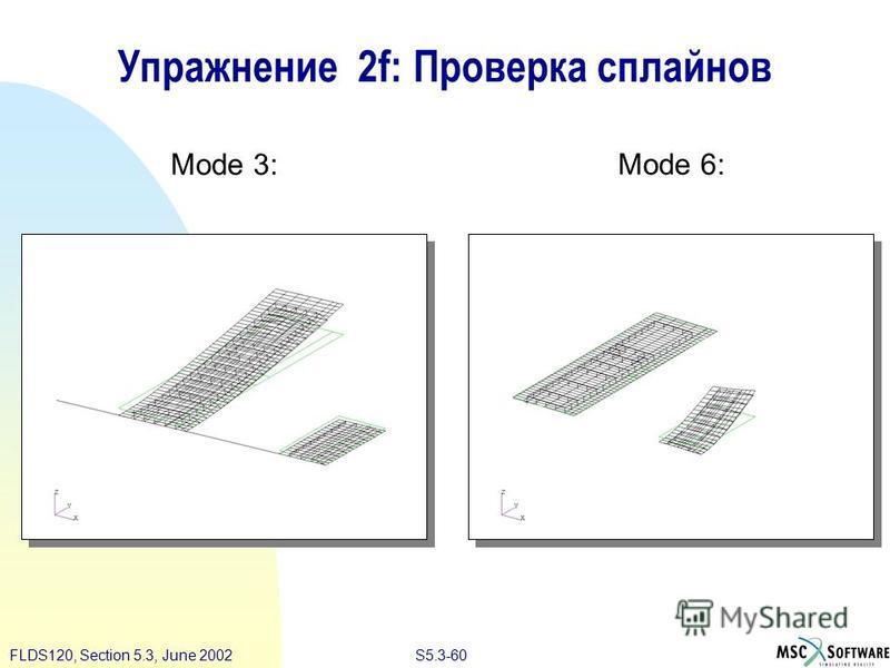 S5.3-60FLDS120, Section 5.3, June 2002 Упражнение 2f: Проверка сплайнов Mode 3: Mode 6:
