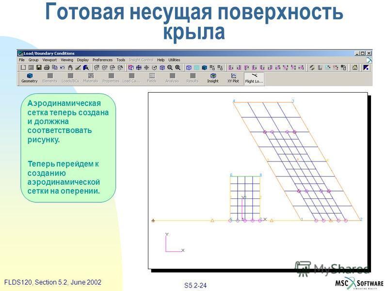 S5.2-24 FLDS120, Section 5.2, June 2002 Аэродинамическая сетка теперь создана и должна соответствовать рисунку. Теперь перейдем к созданию аэродинамической сетки на оперении. Готовая несущая поверхность крыла