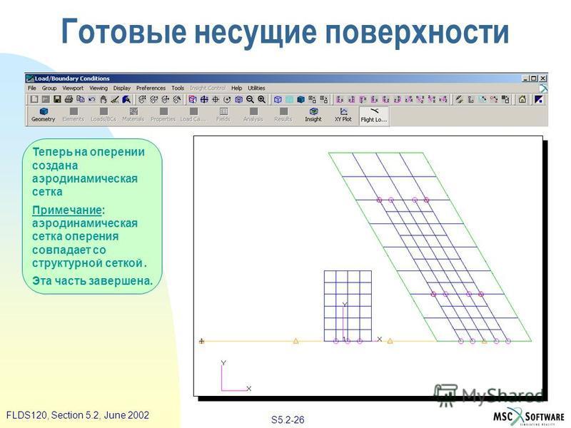 S5.2-26 FLDS120, Section 5.2, June 2002 Теперь на оперении создана аэродинамическая сетка Примечание: аэродинамическая сетка оперения совпадает со структурной сеткой. Эта часть завершена. Готовые несущие поверхности