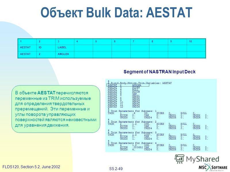 S5.2-49 FLDS120, Section 5.2, June 2002 В объекте AESTAT перечисляются переменные из TRIM используемые для определения твердотельных преремещений. Эти переменные и углы поворота управляющих поверхностей являются неизвестными для уравнения движения. 1