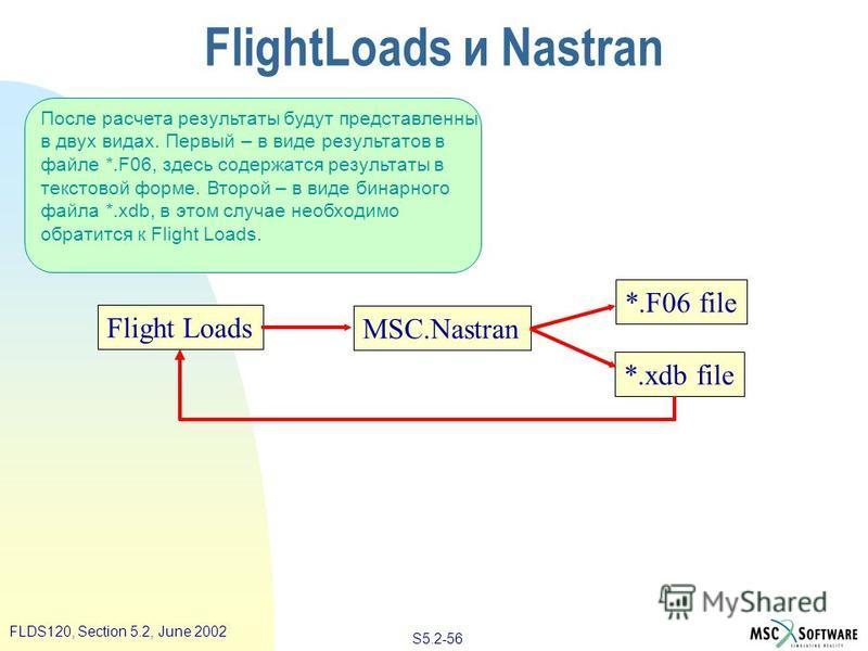 S5.2-56 FLDS120, Section 5.2, June 2002 После расчета результаты будут представлены в двух видах. Первый – в виде результатов в файле *.F06, здесь содержатся результаты в текстовой форме. Второй – в виде бинарного файла *.xdb, в этом случае необходим