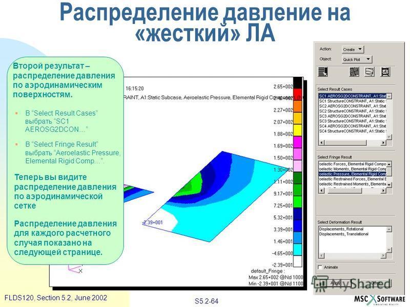 S5.2-64 FLDS120, Section 5.2, June 2002 Второй результат – распределение давления по аэродинамическим поверхностям. В Select Result Cases выбрать SC1 AEROSG2DCON… В Select Fringe Result выбрать Aeroelastic Pressure, Elemental Rigid Comp…. Теперь вы в