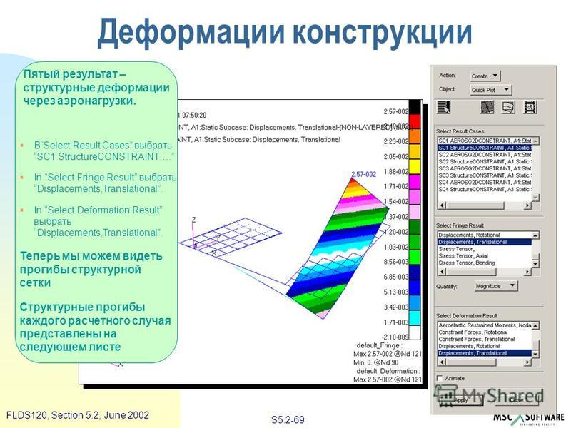 S5.2-69 FLDS120, Section 5.2, June 2002 Пятый результат – структурные деформации через аэронагрузки. ВSelect Result Cases выбрать SC1 StructureCONSTRAINT…. In Select Fringe Result выбрать Displacements,Translational. In Select Deformation Result выбр