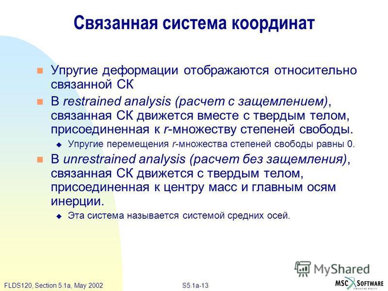S5.1a-13FLDS120, Section 5.1a, May 2002 Связанная система координат Упругие деформации отображаются относительно связанной СК В restrained analysis (расчет с защемлением), связанная СК движется вместе с твердым телом, присоединенная к r-множеству сте
