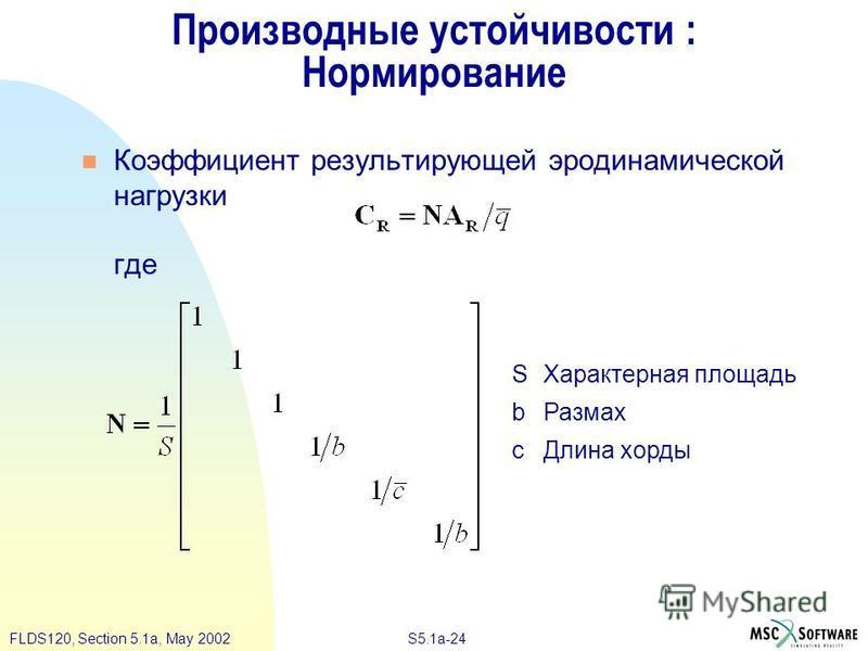 S5.1a-24FLDS120, Section 5.1a, May 2002 Производные устойчивости : Нормирование Коэффициент результирующей аэродинамической нагрузки где SХарактерная площадь b Размах c Длина хорды
