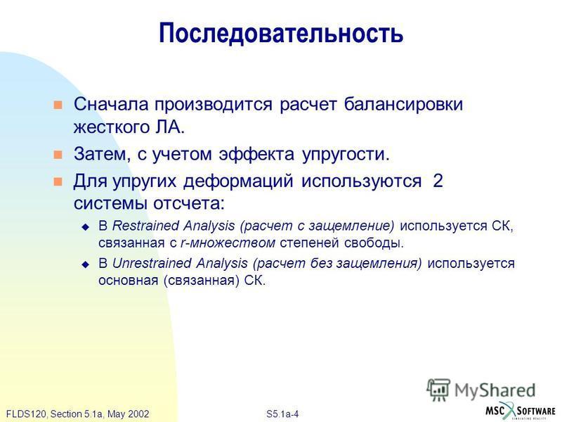 S5.1a-4FLDS120, Section 5.1a, May 2002 Последовательность Сначала производится расчет балансировки жесткого ЛА. Затем, с учетом эффекта упругости. Для упругих деформаций используются 2 системы отсчета: В Restrained Analysis (расчет с защемление) испо