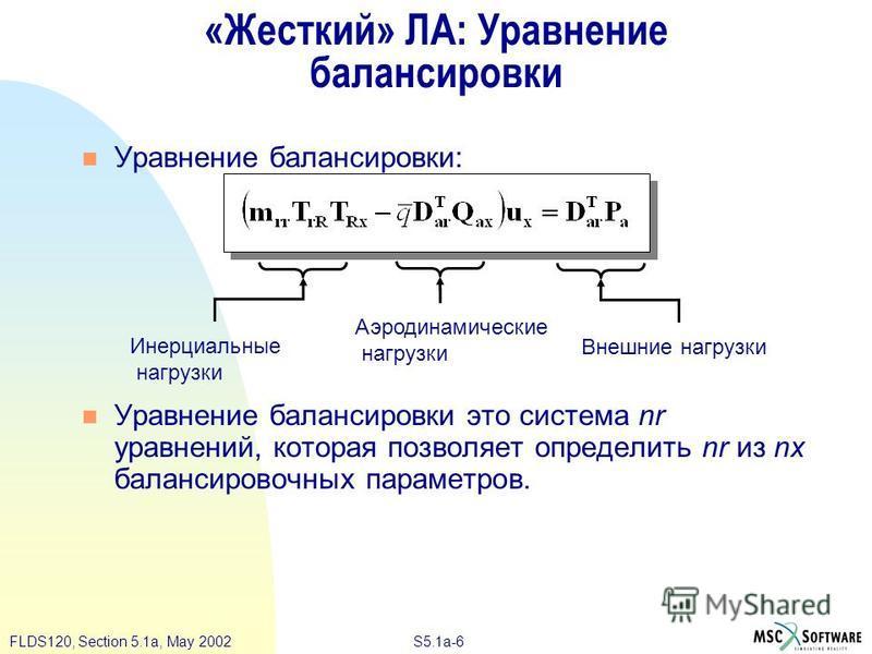 S5.1a-6FLDS120, Section 5.1a, May 2002 «Жесткий» ЛА: Уравнение балансировки Уравнение балансировки: Уравнение балансировки это система nr уравнений, которая позволяет определить nr из nx балансировочных параметров. Инерциальные нагрузки Аэродинамичес