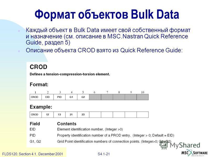 S4.1-21 FLDS120, Section 4.1, December 2001 Формат объектов Bulk Data n Каждый объект в Bulk Data имеет свой собственный формат и назначение (см. описание в MSC.Nastran Quick Reference Guide, раздел 5) n Описание объекта CROD взято из Quick Reference