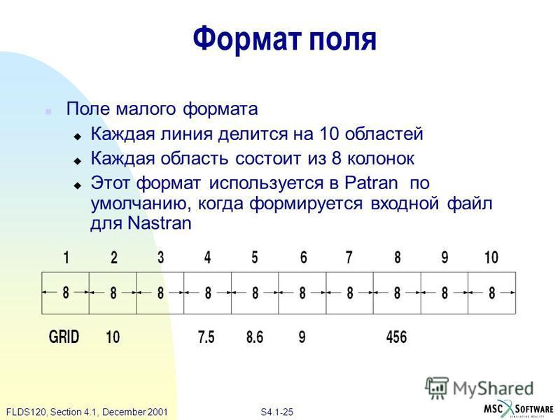 S4.1-25 FLDS120, Section 4.1, December 2001 Формат поля n Поле малого формата u Каждая линия делится на 10 областей u Каждая область состоит из 8 колонок u Этот формат используется в Patran по умолчанию, когда формируется входной файл для Nastran