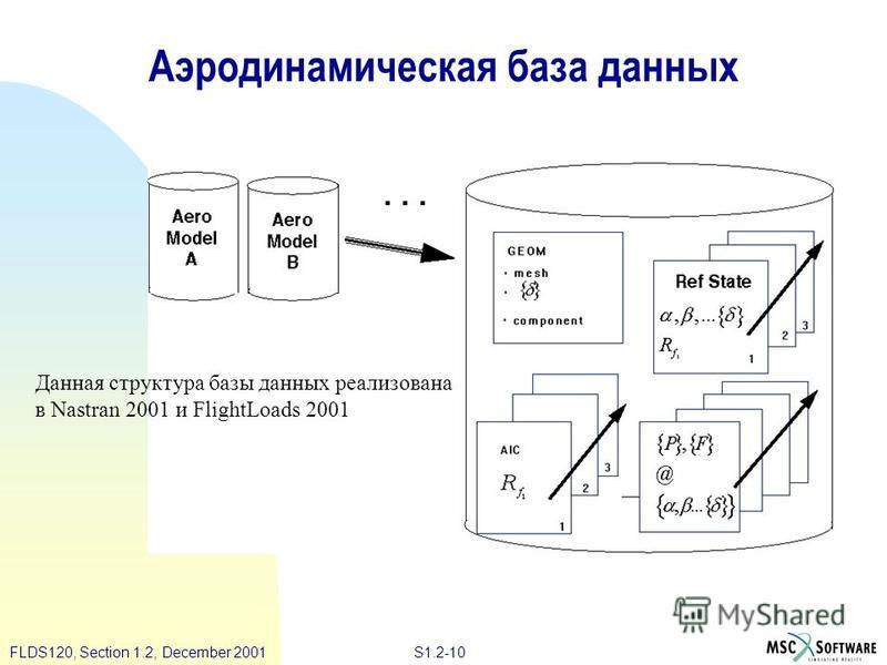 S1.2-10FLDS120, Section 1.2, December 2001 Аэродинамическая база данных Данная структура базы данных реализована в Nastran 2001 и FlightLoads 2001