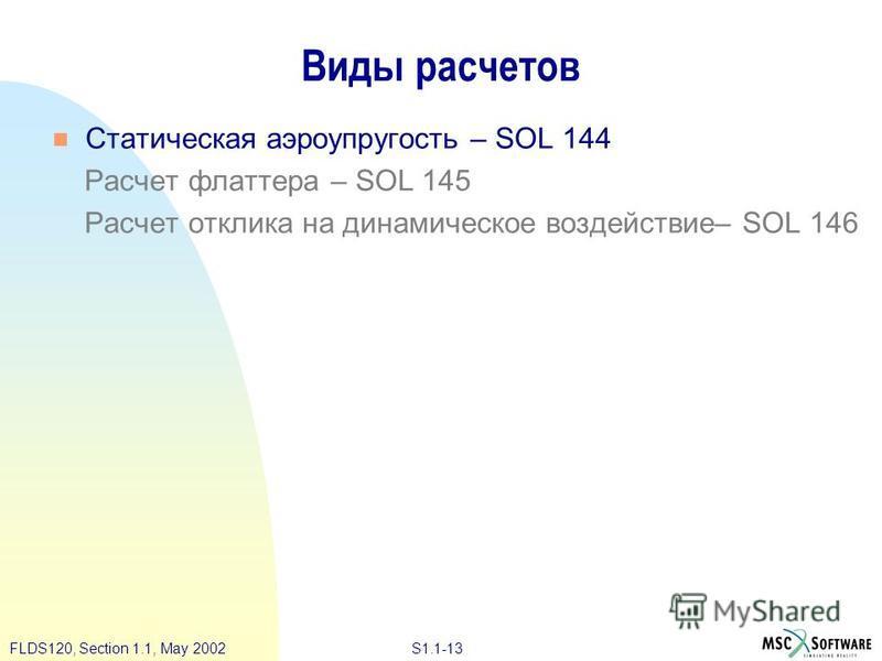 S1.1-13FLDS120, Section 1.1, May 2002 Виды расчетов Статическая аэроупругость – SOL 144 Расчет флаттера – SOL 145 Расчет отклика на динамическое воздействие– SOL 146