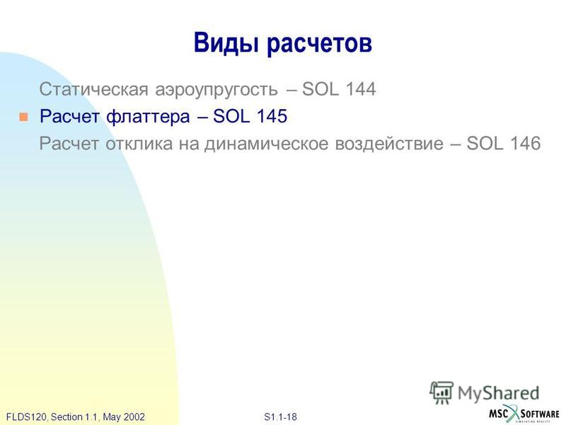 S1.1-18FLDS120, Section 1.1, May 2002 Виды расчетов Статическая аэроупругость – SOL 144 Расчет флаттера – SOL 145 Расчет отклика на динамическое воздействие – SOL 146