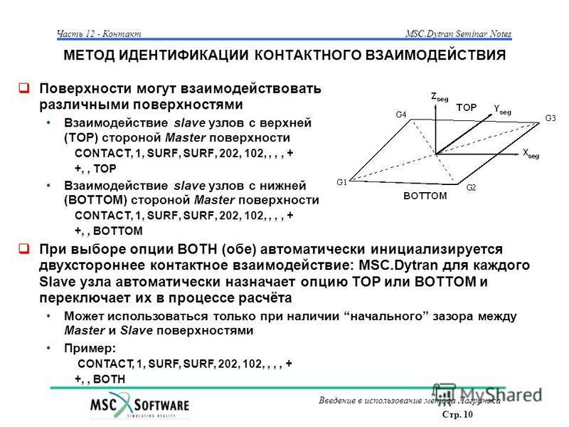 Стр. 10 Часть 12 - КонтактMSC.Dytran Seminar Notes Введение в использование метода Лагранжа МЕТОД ИДЕНТИФИКАЦИИ КОНТАКТНОГО ВЗАИМОДЕЙСТВИЯ Поверхности могут взаимодействовать различными поверхностями Взаимодействие slave узлов с верхней (TOP) стороно