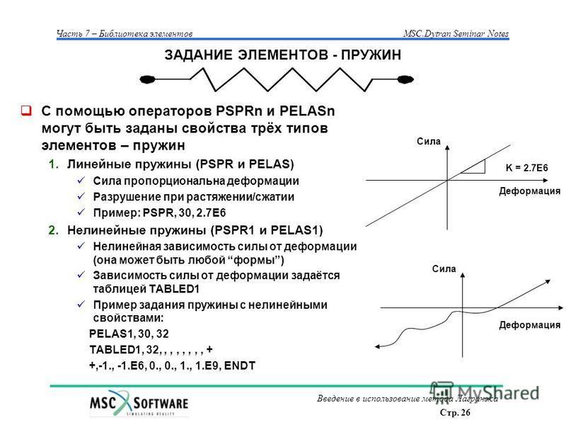 Стр. 26 Часть 7 – Библиотека элементовMSC.Dytran Seminar Notes Введение в использование метода Лагранжа ЗАДАНИЕ ЭЛЕМЕНТОВ - ПРУЖИН С помощью операторов PSPRn и PELASn могут быть заданы свойства трёх типов элементов – пружин 1. Линейные пружины (PSPR