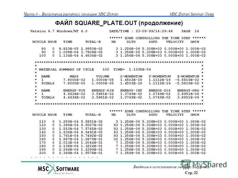Стр. 32 Часть 4 - Выполнение расчёта с помощью MSC.Dytran Введение в использование метода Лагранжа MSC.Dytran Seminar Notes ФАЙЛ SQUARE_PLATE.OUT (продолжение) Version 4.7 Windows/NT 4.0 DATE/TIME : 23-09-99/14:29:48 PAGE 14 ****** ZONE CONTROLLING T