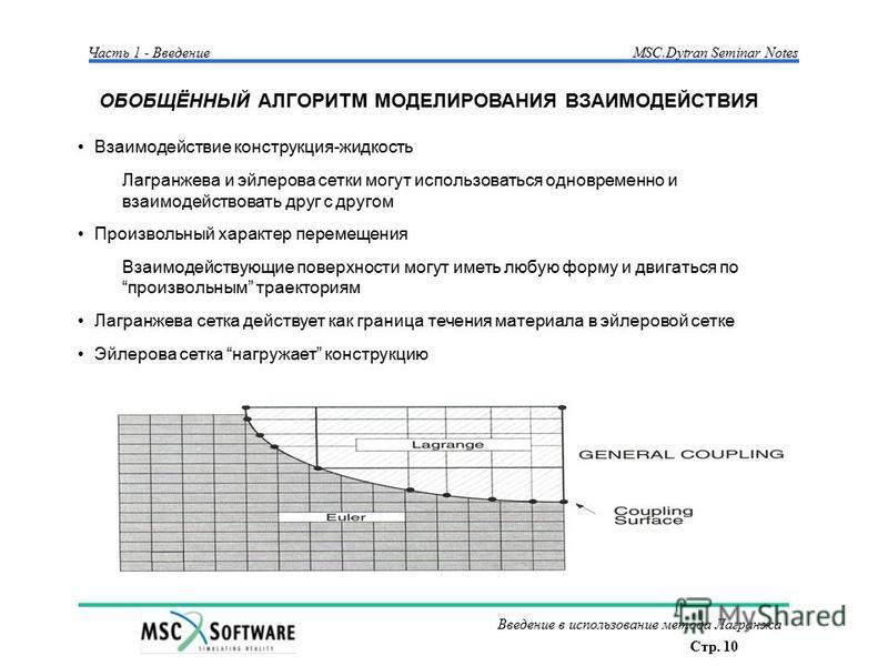 Стр. 10 Введение в использование метода Лагранжа Часть 1 - Введение MSC.Dytran Seminar Notes ОБОБЩЁННЫЙ АЛГОРИТМ МОДЕЛИРОВАНИЯ ВЗАИМОДЕЙСТВИЯ Взаимодействие конструкция-жидкость Лагранжева и эйлерова сетки могут использоваться одновременно и взаимоде