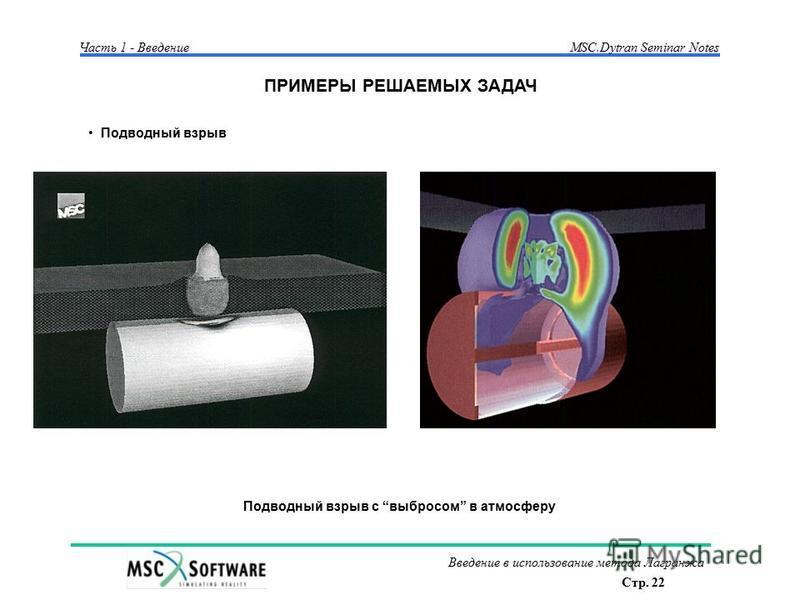 Стр. 22 Введение в использование метода Лагранжа Часть 1 - Введение MSC.Dytran Seminar Notes ПРИМЕРЫ РЕШАЕМЫХ ЗАДАЧ Подводный взрыв Подводный взрыв с выбросом в атмосферу