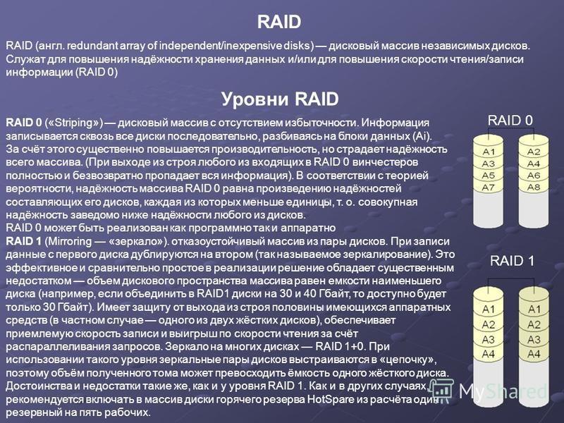 RAID (англ. redundant array of independent/inexpensive disks) дисковый массив независимых дисков. Служат для повышения надёжности хранения данных и/или для повышения скорости чтения/записи информации (RAID 0) RAID RAID 0 («Striping») дисковый массив