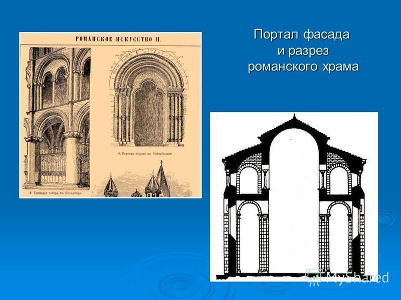 Портал фасада и разрез романского храма