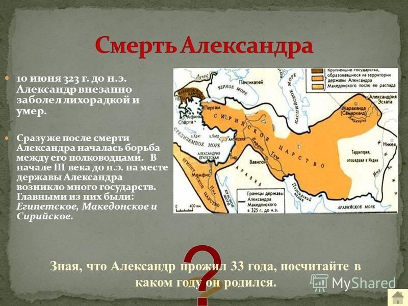 10 июня 323 г. до н.э. Александр внезапно заболел лихорадкой и умер. Сразу же после смерти Александра началась борьба между его полководцами. В начале III века до н.э. на месте державы Александра возникло много государств. Главными из них были: Египе