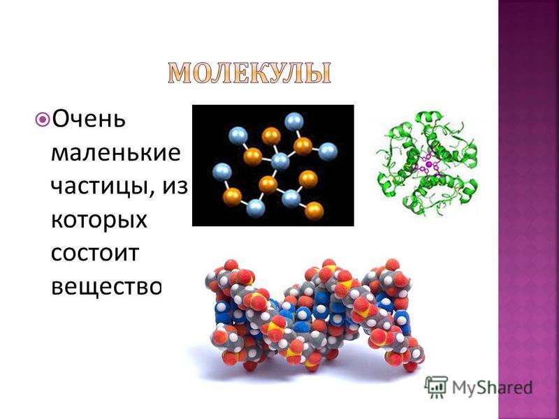 Очень маленькие частицы, из которых состоит вещество