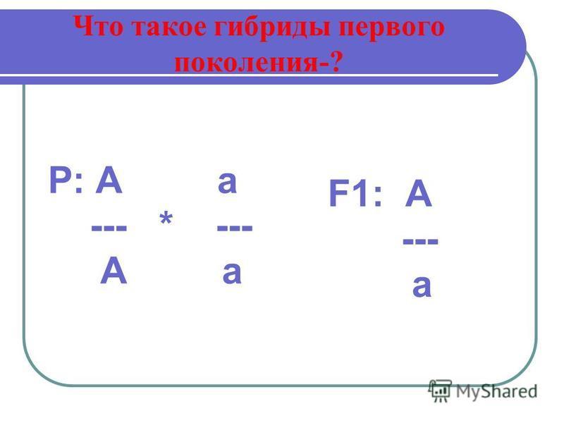 Что такое гибриды первого поколения-? Р: А а --- * --- А а F1: А --- а