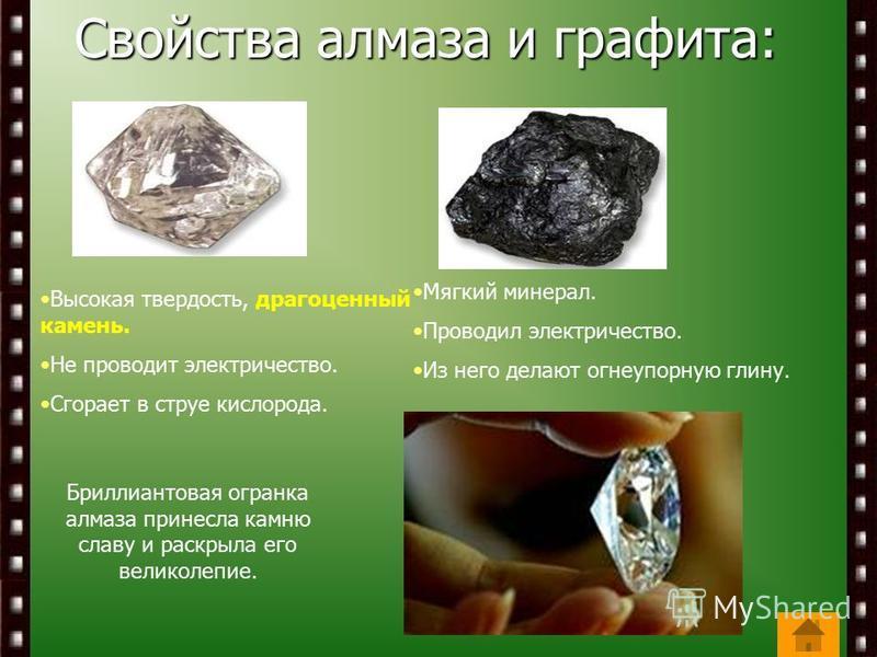 Свойства алмаза и графита: Бриллиантовая огранка алмаза принесла камню славу и раскрыла его великолепие. Высокая твердость, драгоценный камень. Не проводит электричество. Сгорает в струе кислорода. Мягкий минерал. Проводил электричество. Из него дела