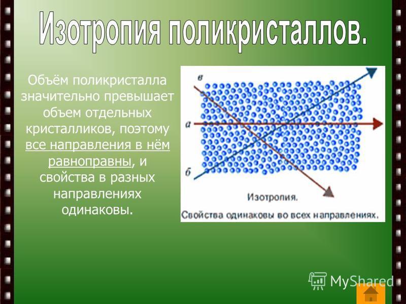 Объём поликристалла значительно превышает объем отдельных кристалликов, поэтому все направления в нём равноправны, и свойства в разных направлениях одинаковы.