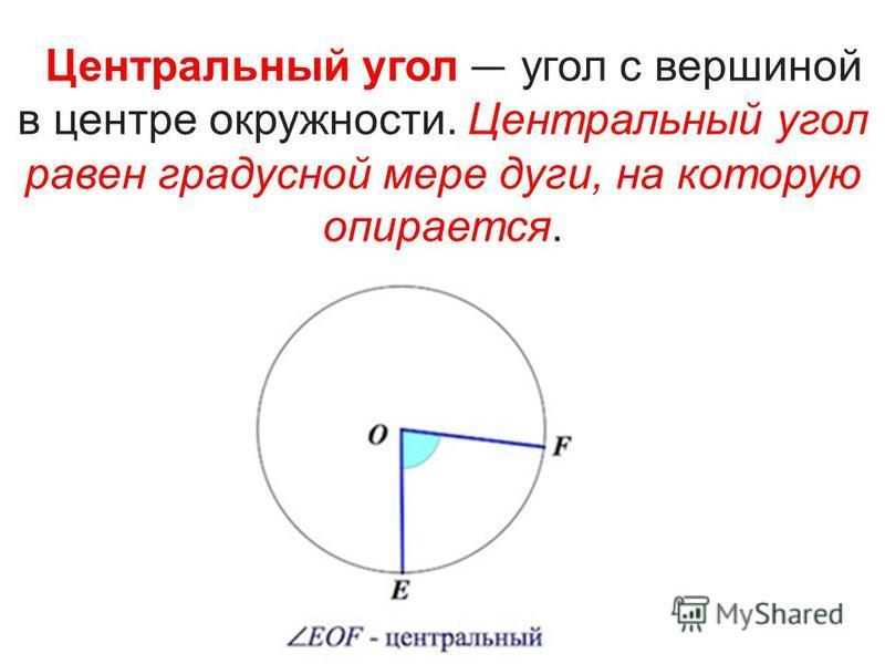 Центральный угол угол с вершиной в центре окружности. Центральный угол равен градусной мере дуги, на которую опирается.