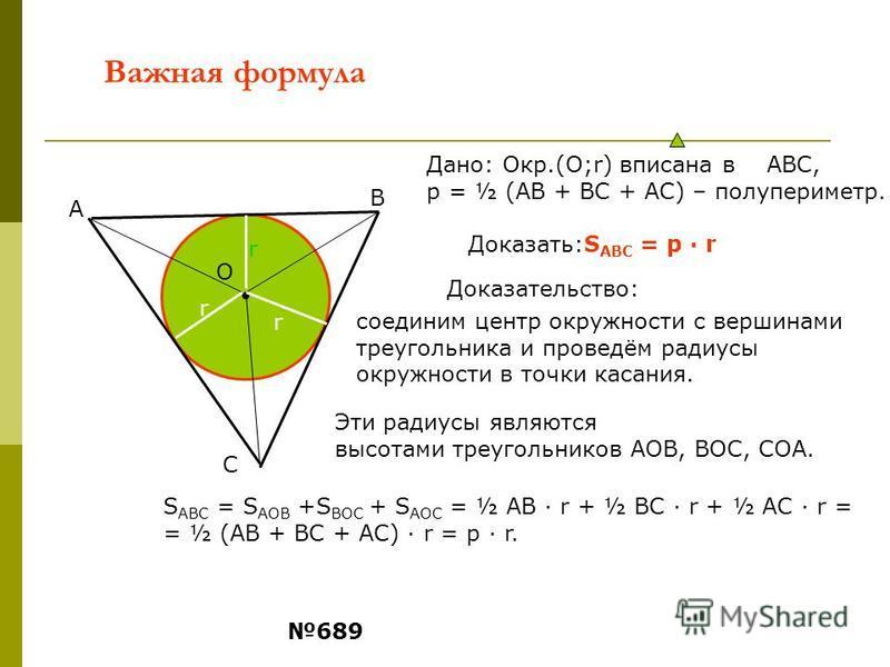 Важная формула Доказать:S ABC = p · r Дано: Окр.(О;r) вписана в АВС, р = ½ (АВ + ВС + АС) – полупериметр. О В А С r r r Доказательство: Эти радиусы являются высотами треугольников АОВ, ВОС, СОА. соединим центр окружности с вершинами треугольника и пр