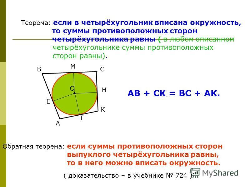 Теорема: если в четырёхугольник вписана окружность, то суммы противоположных сторон четырёхугольника равны ( в любом описанном четырёхугольнике суммы противоположных сторон равны). Обратная теорема: если суммы противоположных сторон выпуклого четырёх