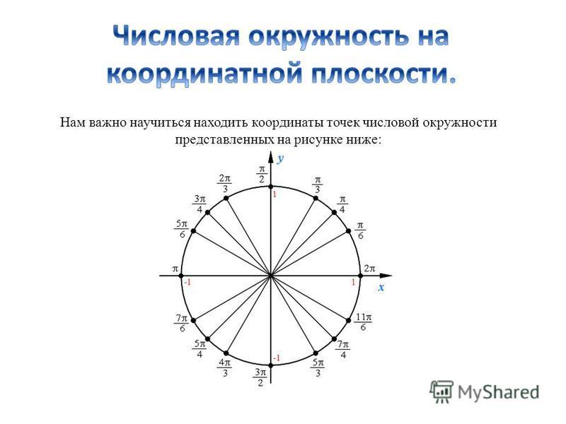 Нам важно научиться находить координаты точек числовой окружности представленных на рисунке ниже: