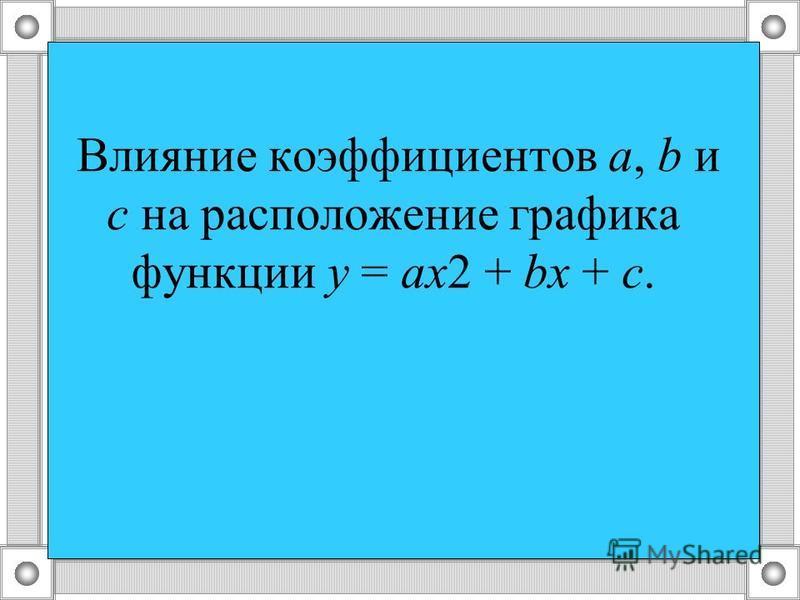 Влияние коэффициентов а, b и с на расположение графика функции у = ах 2 + bх + с.