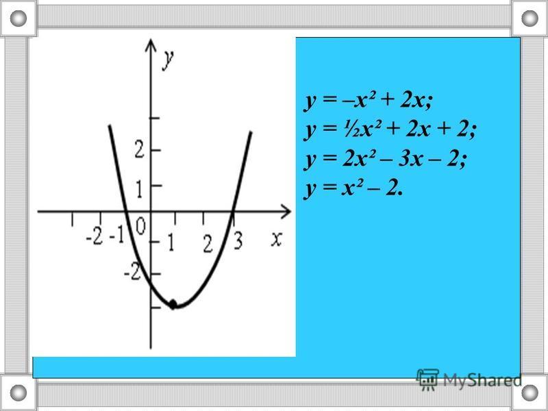у = –х² + 2 х; у = ½х² + 2 х + 2; у = 2 х² – 3 х – 2; у = х² – 2.