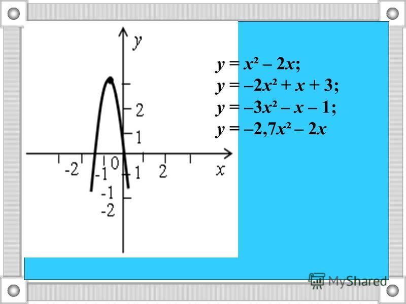 у = х² – 2 х; у = –2 х² + х + 3; у = –3 х² – х – 1; у = –2,7 х² – 2 х