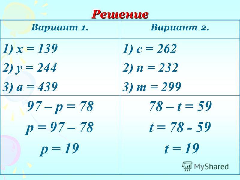 Решение Вариант 1. Вариант 2. 1)х = 139 2)у = 244 3)а = 439 1)с = 262 2)n = 232 3)m = 299 97 – р = 78 р = 97 – 78 р = 19 78 – t = 59 t = 78 - 59 t = 19