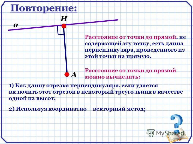 Повторение: А Н а Расстояние от точки до прямой, не содержащей эту точку, есть длина перпендикуляра, проведенного из этой точки на прямую. 1) Как длину отрезка перпендикуляра, если удается включить этот отрезок в некоторый треугольник в качестве одно