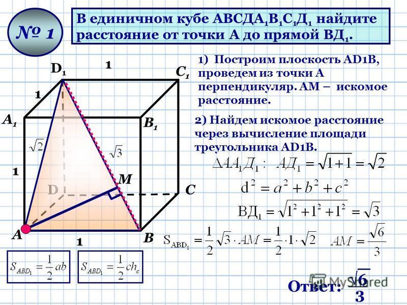 В единичном кубе АВСДА 1 В 1 С 1 Д 1 найдите расстояние от точки А до прямой ВД 1. D D1D1 А А1А1 В В1В1 С С1С1 1 1 1 1 1 М 1) Построим плоскость AD1В, проведем из точки А перпендикуляр. АМ – искомое расстояние. 2) Найдем искомое расстояние через вычи