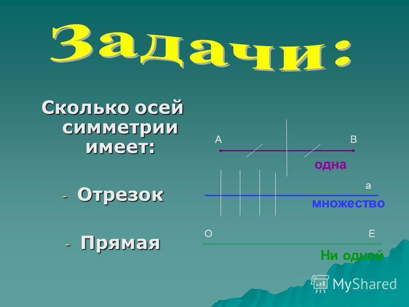 Сколько осей симметрии имеет: - Отрезок - Прямая - Луч АВ а ОЕ одна множество Ни одной