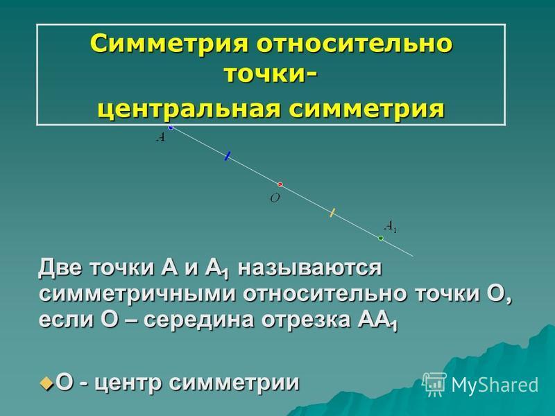 Симметрия относительно точки- центральная симметрия Две точки А и А 1 называются симметричными относительно точки О, если О – середина отрезка АА 1 О - центр симметрии О - центр симметрии