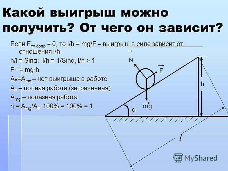 Если F тр,сопр = 0, то l/h = mg/F – выигрыш в силе зависит от отношения l/h. h/l = Sinα; l/h = 1/Sinα, l/h > 1 F·l = mg·h A F =A mg – нет выигрыша в работе A F – полная работа (затраченная) A mg – полезная работа η = A mg /A F ·100% = 100% = 1 Какой